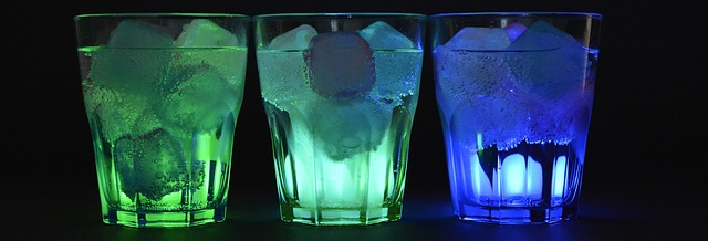 ice cubes floating in glasses