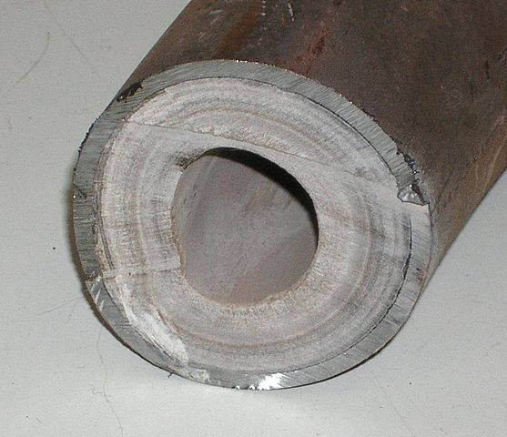 limescale build up inside a pipe