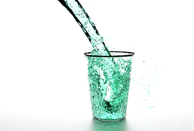 water pouring into glass