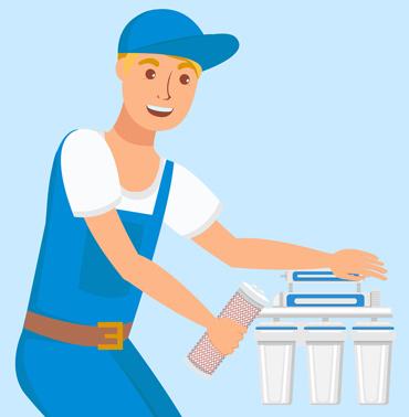 plumber installing water filter